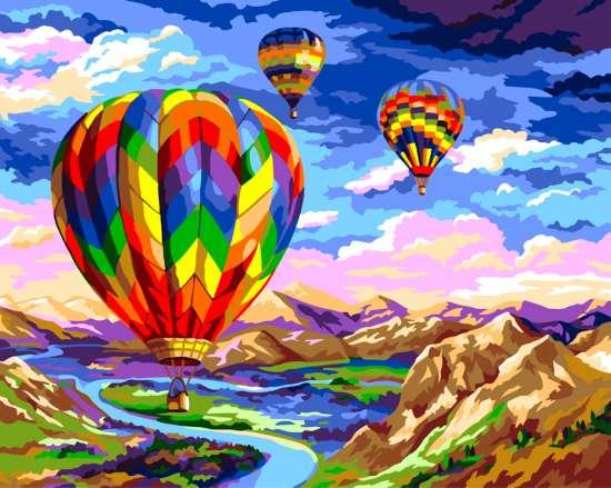 Картина по номерам 40x50 Три воздушных шара над лентой реки