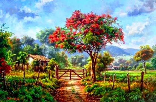 Картина по номерам 40x50 Поле сочной травы