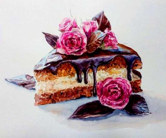 Картина по номерам 40x50 Шоколадный тортик и розы