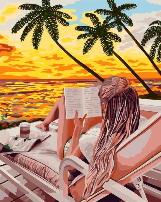 Картина по номерам 40x50 Девушка на тропическом пляже